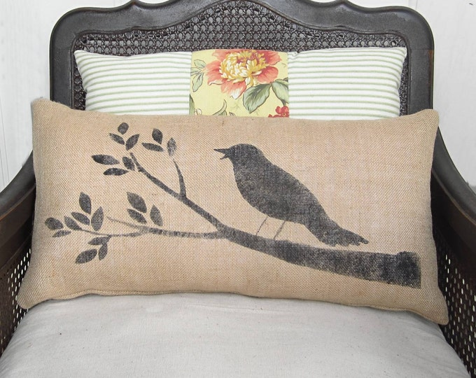 Bird on a Branch - Burlap  Pillow - Handpainted Bird Pillow with Tree Branch Design