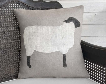 Suffolk Sheep - Burlap Pillow - Sheep Pillow - Sheep Decor - Black Faced Sheep - Wooly Lamb - Primitive Sheep