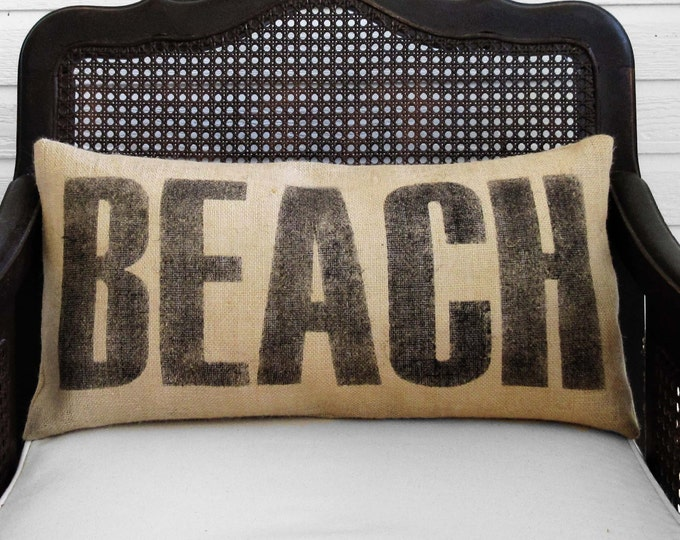 Beach  - Burlap  Pillow - Beach Pillow - Beach Decor - Beach Cottage  - Lumbar Style