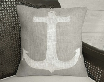 Anchor - Burlap Pillow - Nautical Pillow - Anchor Pillow - Coastal Cottage Decor  - Sailor - Maritime - Seafaring