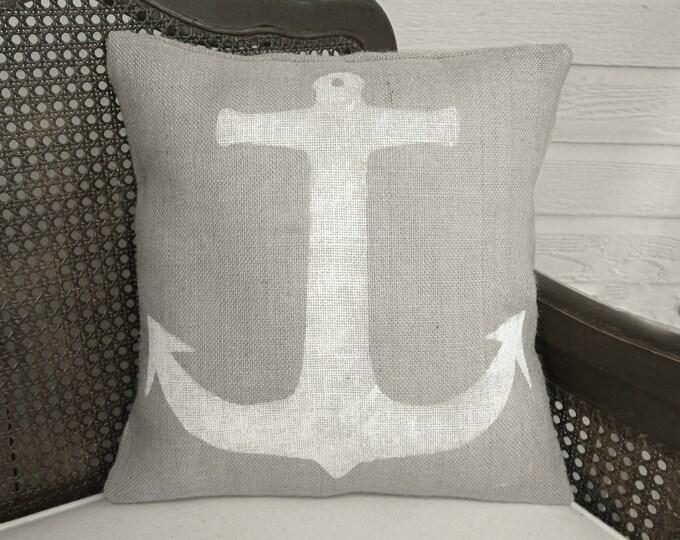 Anchor - Burlap Pillow - Nautical Pillow - Anchor Pillow - Coastal Cottage Decor  - Sailor - Maritime - Seafaring