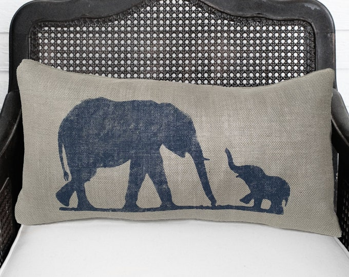 Mother and Baby Elephant Pillow - Burlap Pillow Lumbar  - Elephant Pillow