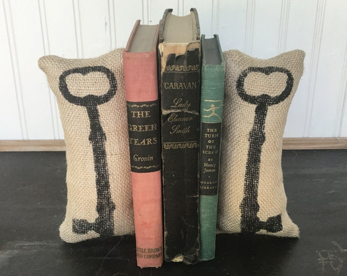 Skeleton Key - Petit Feed Sack Pillow Pair - Unique paper weight, bookends, pin cushion, etc