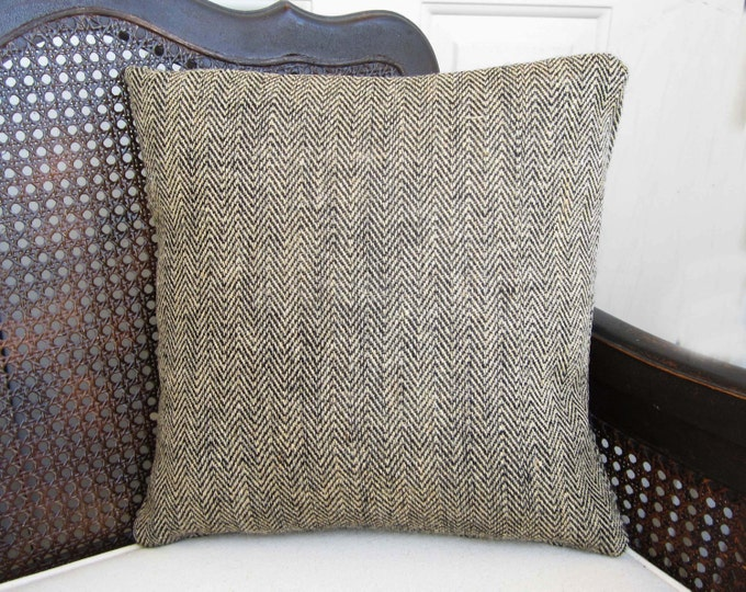 Herringbone Burlap Pillow - Chevron Burlap Pillow - Accent Pillow -  Natural and Black or Natural and Brown