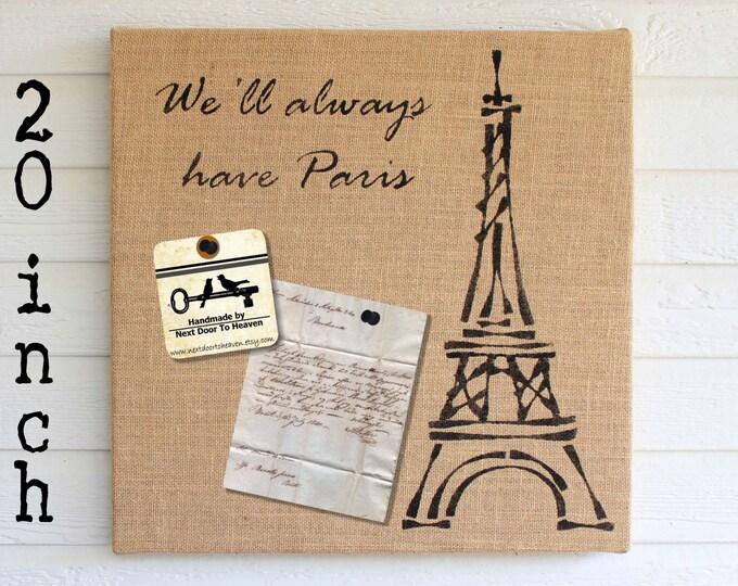 Eiffel Tower -  20 inch - Burlap covered Cork Message Board. Bulletin Board, Memo Board, Pin Board - Paris Wall Art x Eiffel Tower Decor
