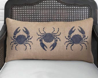 Blue Crabs -  Burlap Pillow  - Coastal Decor - Crab Pillow