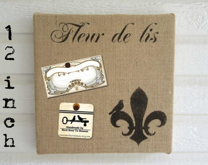 Fleur de Lis with Bird - Burlap covered Cork Message Board 12 inch