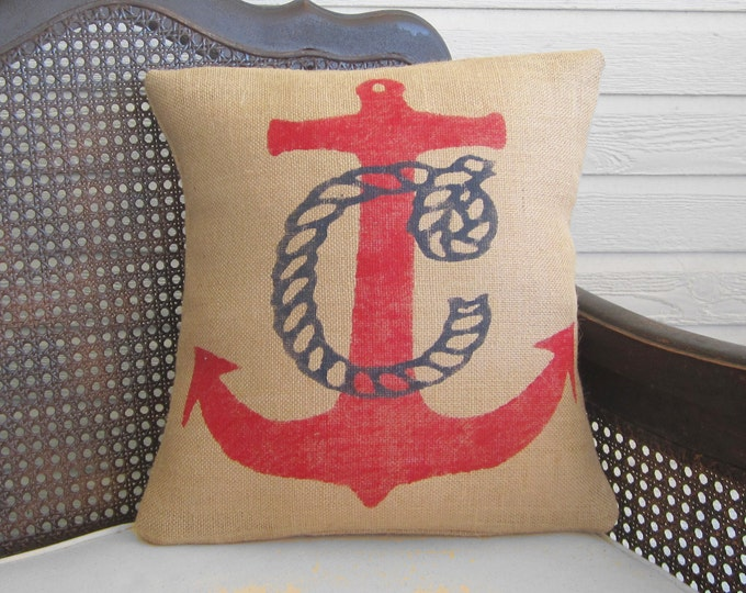 Nautical Anchor Monogram Pillow  - Burlap Pillow - Nautical  Decor -  Monogram Pillow - Nautical Monogram - Personalized - Red, Navy, White