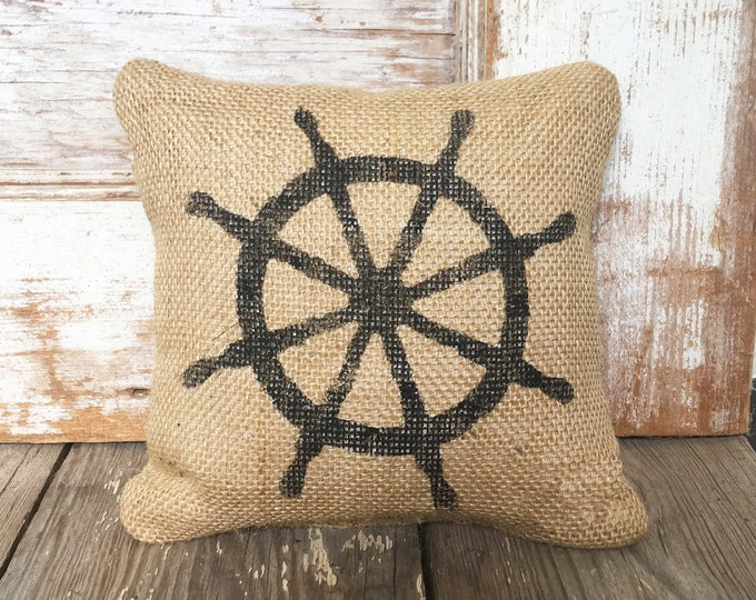 At the Helm - Ships Wheel Burlap Doorstop - Nautical  Design