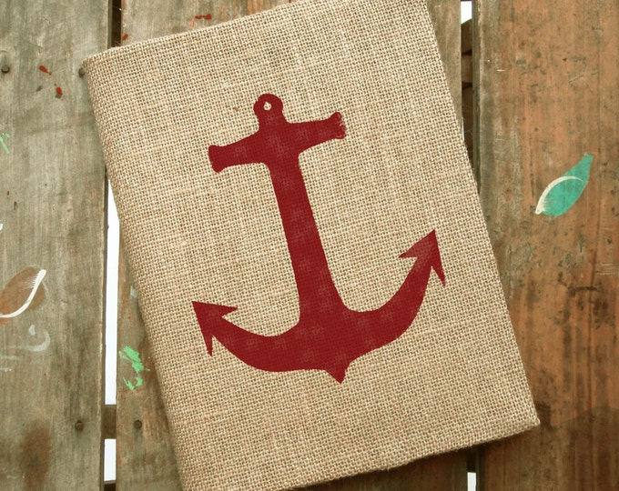 Anchor -  Burlap Journal  - Refillable Journal Cover  - Notebook included - Nautical Journal - Anchor Journal - Composition Notebook Cover