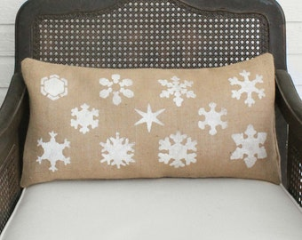 Snowflake Study - Burlap Christmas Pillow - Christmas Pillow - Winter Snowflake Pillow