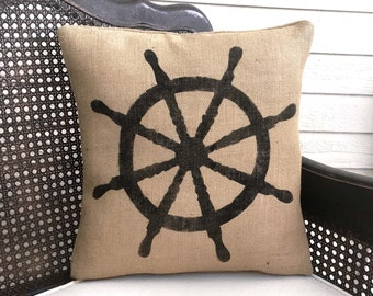 At the Helm  - Ships Wheel Pillow - Burlap Pillow - Ship Pillow - Nautical Decor   Maritime