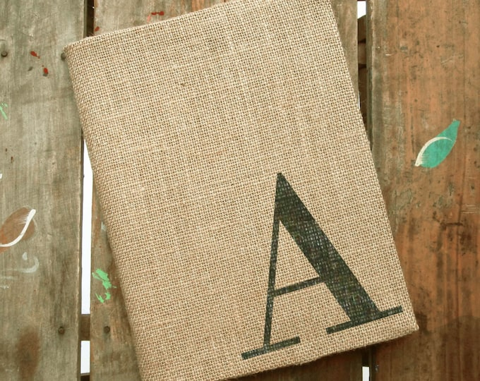Classic Monogram Journal - Monogrammed Burlap Journal Composition Notebook Cover  - Personalized Journal Initial - Notebook Included