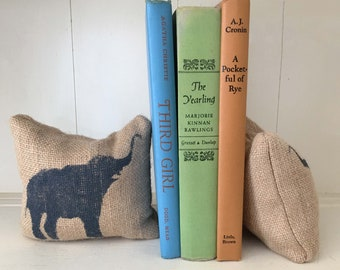 Miss Baba the Circus Elephant-  - Burlap Petit Feed Sack Pillow Pair - Unique paper weight, bookends, pin cushion, etc