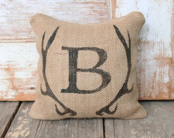 Deer Antler Monogram Burlap Doorstop -  Burlap Fabric Doorstop -  Autumn Decor - Antler decor - Personalized Door Stop