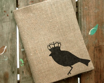Bird with Crown -  Burlap Feed Sack Journal Cover w. Notebook - Refillable Composition Notebook Cover