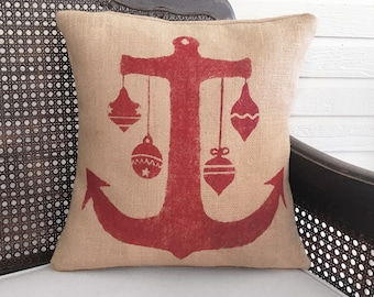 Nautical Anchor Christmas Pillow with Ornamants  -  Burlap Pillow Christmas  - Holiday Decor - Christmas Decor - Nautical Pillow