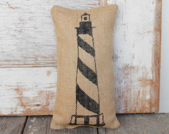 The Cape Lighthouse -  Burlap Doorstop - Nautical Door Stop - Coastal Decor