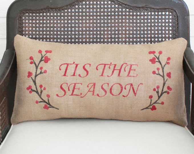 Winter Berry Wreath with Holiday Saying -  Burlap Christmas Pillow - Holiday Pillow - Winter Decor - Custom Tis the Season, Merry Christmas