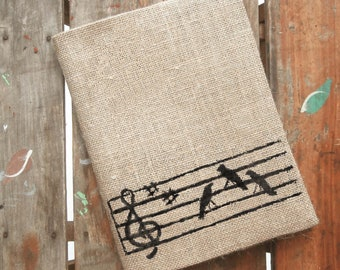 Songbirds - Burlap Feed Sack Journal Cover w. Notebook - Refillable Composition Notebook Cover