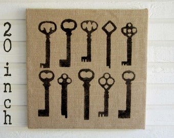 Skeleton Key - Burlap covered Cork Message Board  20 inch  - Pin  Board, Bulletin Board, Memo Board  - Skeleton Key Wall Decor