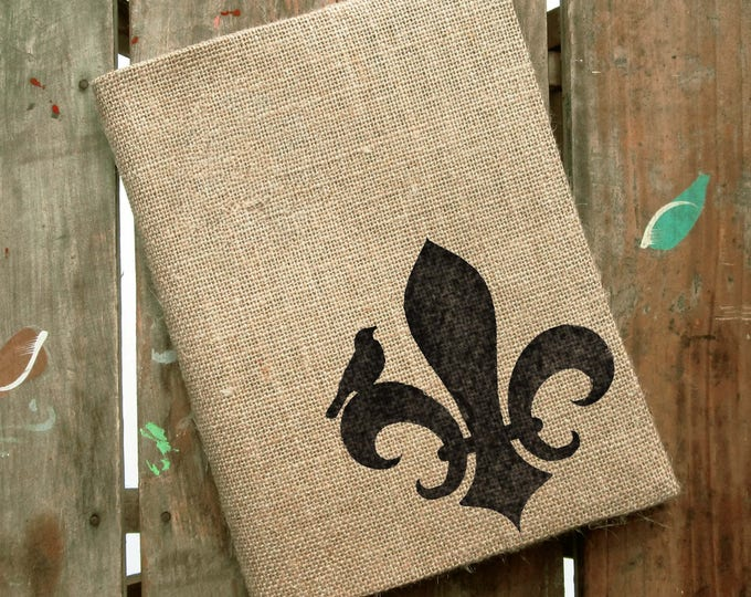 Fleur de Lis -  Burlap Feed Sack Journal Cover w. Notebook - Refillable Composition Notebook Cover