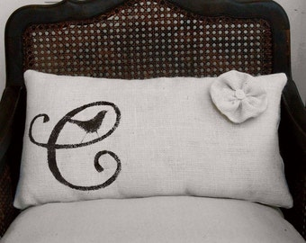 Bird Letter Custom Monogram  - Burlap Lumbar Pillow w/ Flower