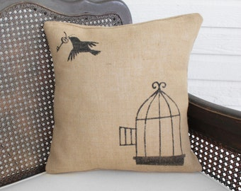 Free to Fly - Burlap Pillow - Bird Cage and Skeleton Key - Birdcage Pillow - Bird Pillow - Throw Pillow