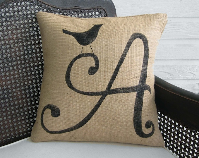 Bird Letter Custom Monogram Pillow  - Burlap Pillow - Custom Letter Pillow - Personalized