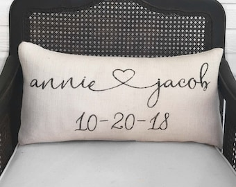 Hearts Together Cursive Script -  Burlap Pillow -  Personalize with you and your sweetie's name and special date - Decor Valentine Pillow
