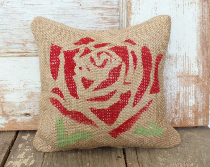 Red Red Rose  -  Burlap Feed Sack Doorstop - Flower Door Stop