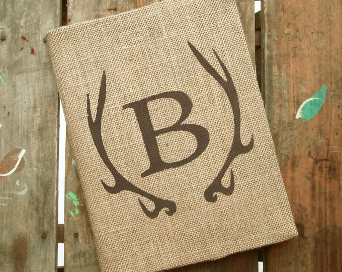 Deer Antler Monogram Journal - Monogram Burlap Journal Cover w. Notebook Monogrammed Journal Personalized - Composition Notebook Cover