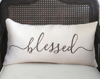 Blessed   - Burlap Pillow Feed sack  - Blessed Pillow Lumbar - Easter Decor - Typography Pillow