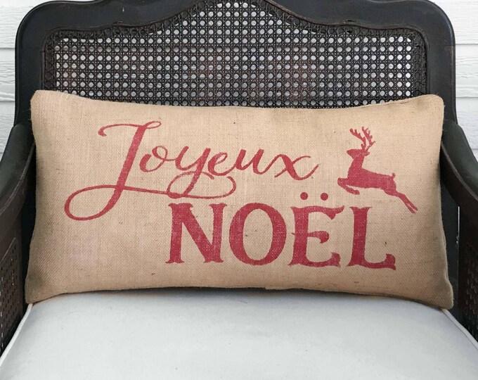 Merry Christmas in any Language - You Choice - Burlap Christmas Pillow with Reindeer - Joyeux Noel Pillow Feliz Navidad