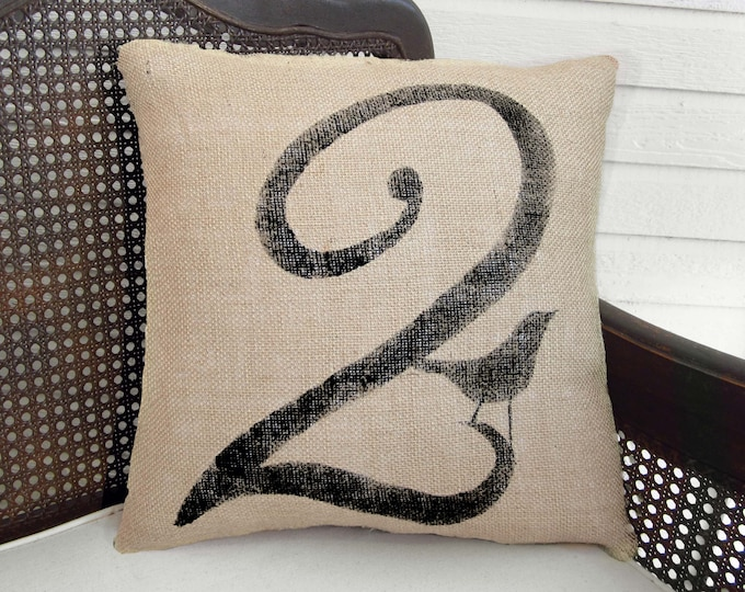 Bird Number Custom Pillow  - Burlap Feed Sack Pillow - Square Number Pillow