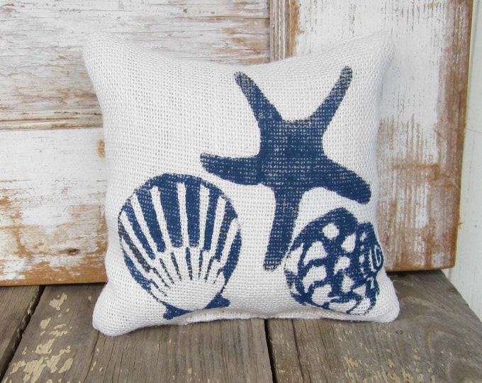 Beach Memories -  Burlap Feed Sack Doorstop  - Sea Shell and Starfish  Door Stop