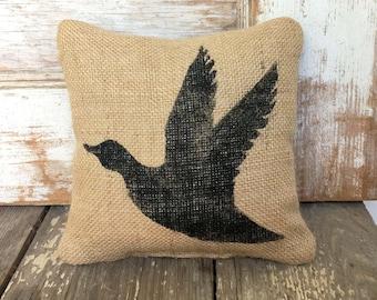 Flying Duck  -  Burlap Feed Sack Doorstop - Door Stop - waterbird - waterfowl - Duck Doorstop - Mallard Duck Decor