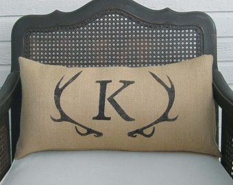 Deer Antler Monogram Pillow - Lumbar Pillow  - Burlap Pillow - Antler Decor - Burlap Monogram Pillow -  Personalized  - Letter Pillow