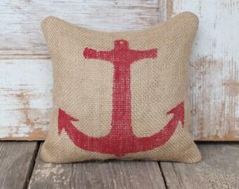Anchor  - Burlap Feed Sack Doorstop - Nautical  Design - Door Stop