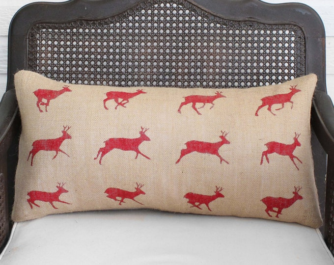 Running Deer Zoopraxography Study - Burlap Pillow - Deer Pilllow in Lumbar Style  -  Christmas deer - Christmas Pillow
