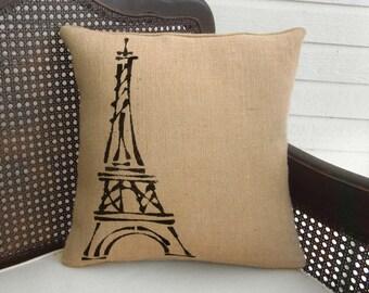 Eiffel Tower, Paris  - Burlap Pillow Feedsack - Paris themed decorations  - Eiffel Tower Decor - Eiffel Tower Pillow - French County