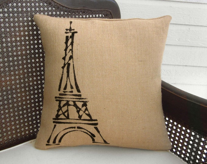Eiffel Tower, Paris  - Burlap Pillow Feedsack - Paris themed decorations  - Eiffel Tower Decor - Eiffel Tower Pillow - French County
