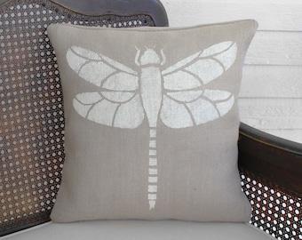 Dragonfly - Pillow Burlap - Dragonfly Pillow - Insect Pillow - Dragonfly decor - Garden Pillow - Nature Decor