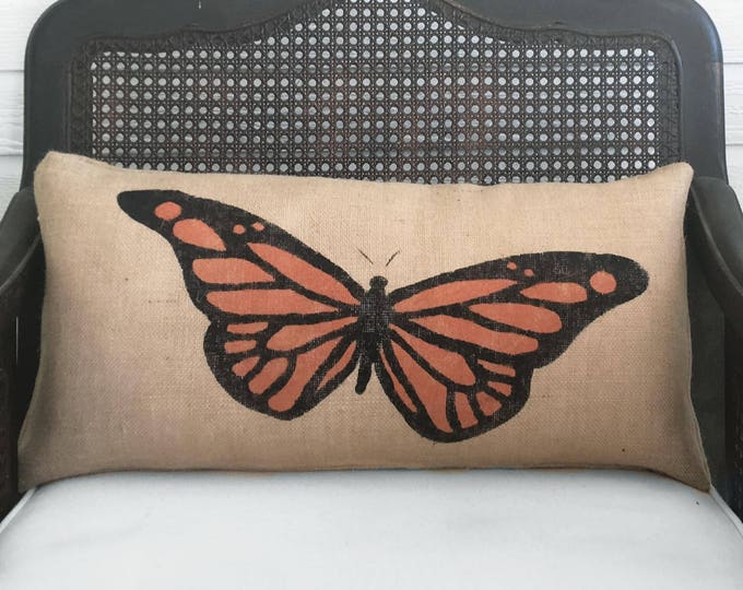 Butterfly - Burlap Pillow - Monarch Butterfly Pillow - Butterfly Decor - Orange butterfly - Yellow Butterfly, Blue Butterfly Lavender