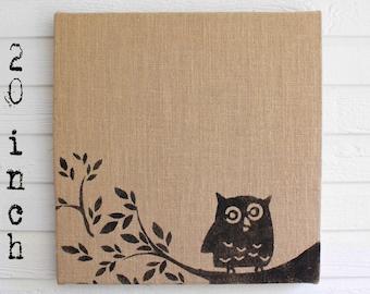 Owl on Branch -  Burlap covered Cork Message Board 20 inch - Pin Board, Tack Board, Memo Board, Bulletin Board - Owl Wall Decor  -
