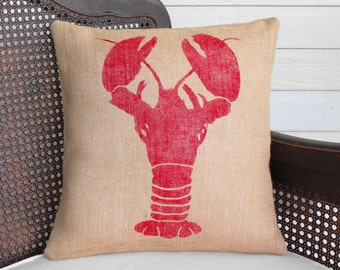 Astacidea Lobster   - Burlap Pillow - Nautical Decor - Lobster Pillow - Lobster Decor - Coastal Pillows - Beach Cottage - Summer Pilllows