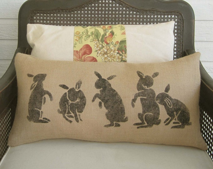 Les Lapins -  The Rabbits  - Burlap  Pillow - Rabbit Pillow - Spring Decor - Easter Decor - Lumbar Pillow - Bunny Pillow