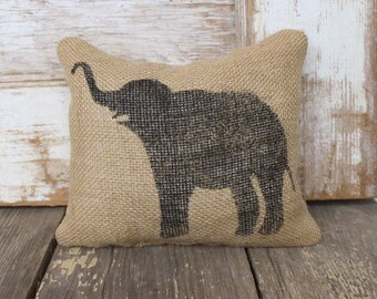 Miss Baba the Circus Elephant- Burlap Feed Sack Doorstop - Elephant Door Stop