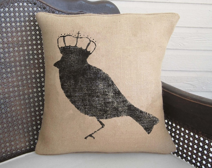 Bird with Crown - Burlap Pillow - Bird Pillow