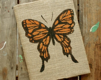Butterfly - Burlap Journal  Refillable -  Notebook included - Composition Notebook Cover Lined or Blank - Butterfly Journal - Sketchbook